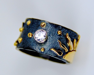 18k gold diamond sun moon stars ring